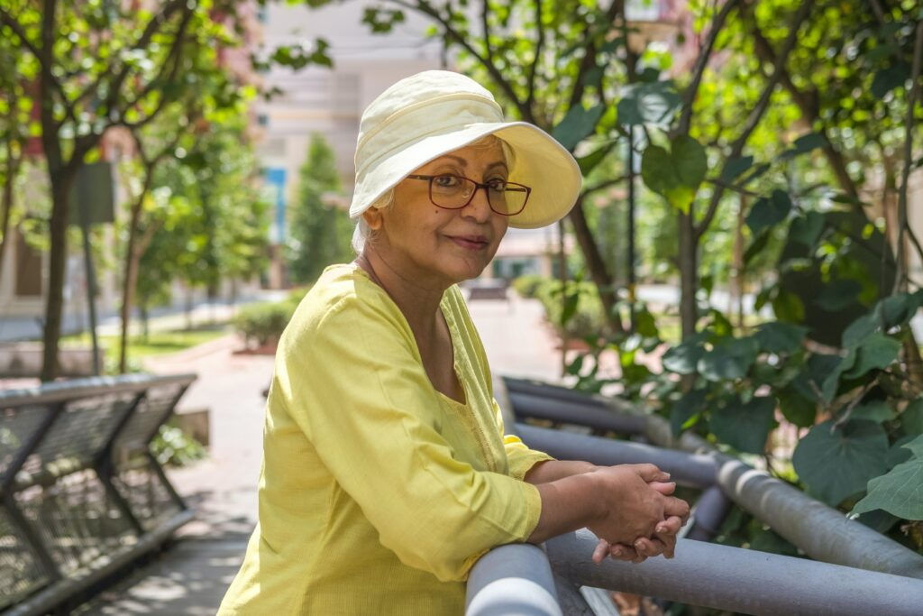 elderly woman smiling city